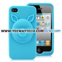 Buy cheap 3D Pig Pattern Design Silicone Case For iPhone 4S - Light Blue from wholesalers