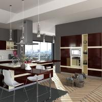 Cheap Villa Project Rosewood Veneer Modular Kitchen Cabinets Artificial Stone Countertop wholesale