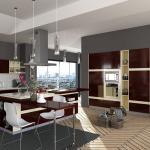 Cheap Villa Project Rosewood Veneer Modular Kitchen Cabinets Artificial Stone Countertop wholesale