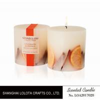 Quality Pillar Natural Scented Candle With Dry Fruit And Flower And Logo Sticker for sale