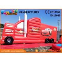 Cheap Fun Truck Bounce House Inflatables Obstacle Course Red Fire Retardant wholesale
