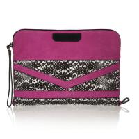 Cheap Snake Embossed Leather Wristlet Bag / Pink Suede Cow Leather Lady Hand Bags wholesale