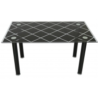 Cheap Modern Simple 140cm Black Tempered Glass Dining Table For 4pcs Chairs wholesale