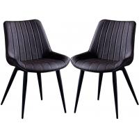 Cheap Solid back Nordic Dining Chairs PU Leather With Backrest Metal Legs Simplicity wholesale