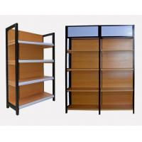 Cheap High End Brown Supermarket Display Shelving Grain Wood Metal Material wholesale