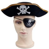 Buy cheap Decorative Black Halloween Pirate Hat , Unique Funky Festival Hats Skull from wholesalers