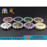 Cheap ABS Casino Poker Chips , Gambling Plastic Sticker Poker Chips Coins Yangming wholesale
