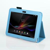 Cheap Blank PU Folio PC Sony Tablet Leather Case With Stand , Eco Friendly Blue wholesale