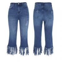 Cheap Ladies 5 pocket jeans with fringes on bottom wholesale