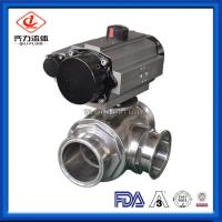 Cheap Clamped 3 Way Sanitary Ball Valve High Flow Ability Pneumatic Ball Valves wholesale