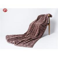 Cheap Soft Warm Faux Animal Fur Blanket Throw Classic square jacquard Polyester mink Faux Fur Throw beige wholesale