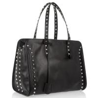 Cheap Silver Studs Leather Bag , Black Womens Leather Travel Bag , Leather Hang Tag with Logo wholesale