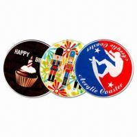 Cheap 9cm Circular Coasters, Made of 3mm Thick Acrylic with CMYK Logo and Visual wholesale