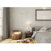 Embossed Leaf Pattern Modern Removable Wallpaper for Bedroom With Vinyl Material