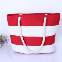 Cheap Printed Stripe Cotton Canvas Bags With Two Soft Cotton Rope Handles wholesale