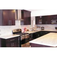 Chocolate Gloss Solid Wood Kitchen Cabinets , Traditional Kitchen Cupboards