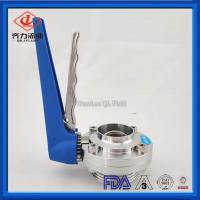Cheap SS 316L Manual Thread Butt  Butterfly Valve 1MPA  With Gripper Handle wholesale