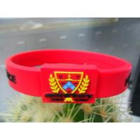 Cheap Red / Black Printed Embossed Silicone Bracelet, Hologram Energy Armor Bracelets wholesale