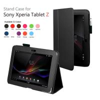 Cheap Lichi Black PC Sony Tablet Leather Case , Fancy Xperia Tablet Z Cover wholesale