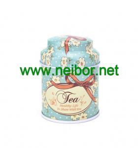 China custom printing small round metal tin tea box storage can with dome lid on sale