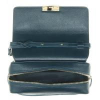 Quality Vogue Navy Pebbled Crossbody Leather Handbags With Detachable Shoulder Strap for sale
