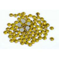 Quality Yellow Hot Fix Crystals / Strong Glue Iron On Rhinestones 12 Or 14 Facets for sale