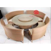China Outdoor round rattan glass dining table set for sale on sale