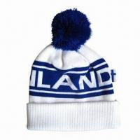 Cheap Pom Beanie with Logo by Woven Label, Made of Acrylic Material wholesale