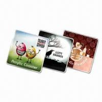 Cheap 9cm Rectangular Coasters, Made of 3mm Thick Acrylic with CMYK Logo and Visual wholesale