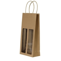 Cheap High Quality Unique Design Twisted Paper Handle Bottle Wine Kraft Bag With Clear Window wholesale