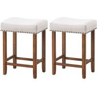 Cheap Backless Backless Cushioned Bar Stools Sponge Cushion And Solid Rubber Wooden Legs wholesale