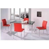 China New Modern house steady frame  tempered glass topped dining tables on sale