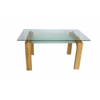 Buy cheap Solid Wood Frame 2 Layer 10mm Tempered Glass Top Dining Table from wholesalers