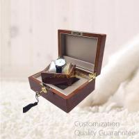 Cheap Custom Luxury Wooden Watch Display Watch Gift Box, High Gloss Burlwood Walnut Color, Faux Leather Lined Inner, with Key wholesale