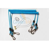 Cheap Sky Blue Stopdrop Plastic Coil Lanyard 18CM With Zinc Alloy Hooks wholesale
