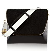 Cheap Patent Leather Shoulder Bag , Grain Leather Crossbody Leather Bags , Calf Lining Luxury Bag wholesale