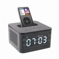 Cheap Portable Speaker System for Apple iPhone/iPod with FM Radio, Speaker Box and Alarm Clock with Remote wholesale