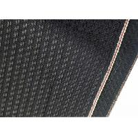 Cheap Black Cotton Selvage Jeans Herringbone Denim Fabric W3692 12.1oz With Embroidery wholesale