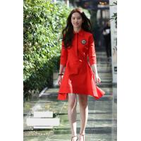 China fashion turn down collar mid-length sleeves ladies dresses red color on sale