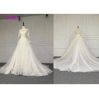 Cheap Crystal A Line Ball Gown Wedding Dress / Tulle Long Sleeve Ball Gown Wedding Dress wholesale