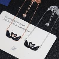Buy cheap 925 Sterling Silver Swarovski Crystal Jewelry Black Swan Pendant Necklace from wholesalers