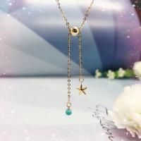 Buy cheap Start Charm 14k Gold Jewelry , Turquoise Bead Drop Pendant Chain Necklace from wholesalers