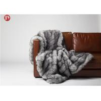 Cheap Gray Cutting groove Faux Fur Weighted Blanket , Faux Coyote Fur Blanket 80''X60'' Optional Color wholesale