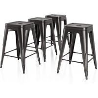 Cheap 26 Inches Height Bar Stools Industrial Kitchen Stools Backless Black Metal Stackable Side wholesale