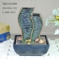 Cheap Green Polyresin Water Fountain Tabletop Waterfall Fountain With Natural Pebble for sale