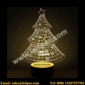 Cheap 3D Christmas Tree Visual Acrylic LED USB Table Light for sale