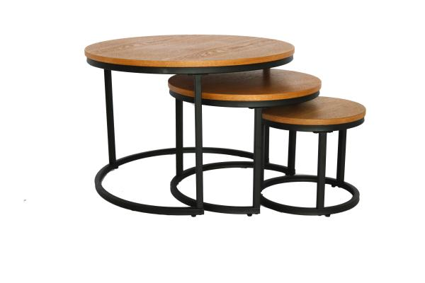 Quality 3 Set Of 18mm 70x48mm Round Wood Dinning Table for sale