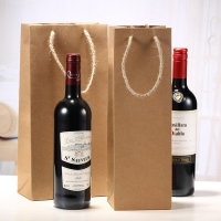 Buy cheap Eco-friendly Kraft Paper Wine Bottle Packing Recyclable Paper Tote Bag with from wholesalers