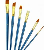 Cheap Wooden Handle Golden Synthetic Paint Brush Sets , Interlocked Fine Bristle Paint Brushes wholesale