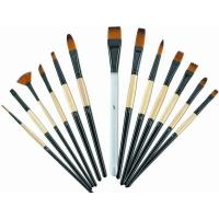 Cheap Brown Round Tip Paint Brush , Acrylic Paint Brushes For Beginners Brass Ferrule wholesale